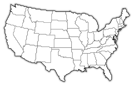 Politieke kaart van de Verenigde Staten met de verschillende staten. Stockfoto