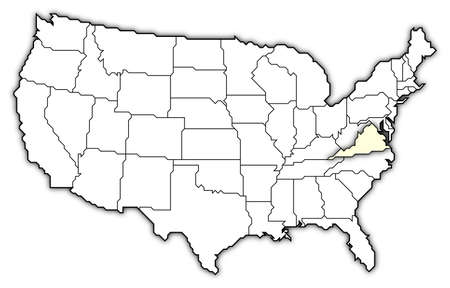 3d virginia: Political map of United States with the several states where Virginia is highlighted.