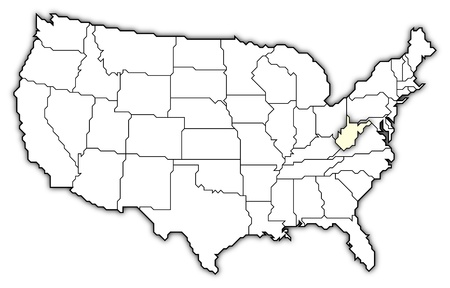Political map of United States with the several states where West Virginia is highlighted. photo