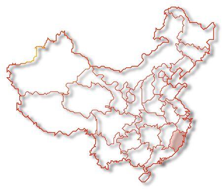 Mapa pol�tico de China con las provincias de Fujian, donde varios se destacaron. Foto de archivo - 10818659