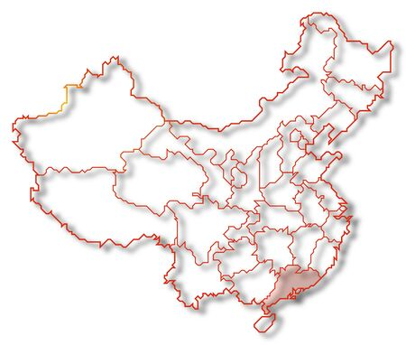 Political map of China with the several provinces where Guangdong is highlighted. Stock Photo