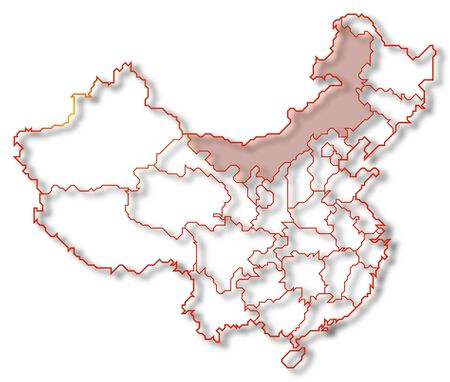 Political map of China with the several provinces where Inner Mongolia is highlighted.