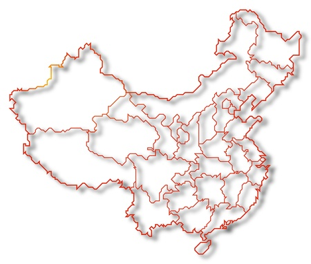 Political map of China with the several provinces where Macau is highlighted. photo