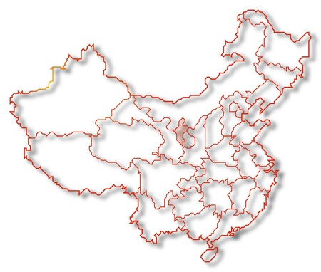 Political map of China with the several provinces where Ningxia is highlighted. photo