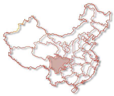 Political map of China with the several provinces where Sichuan is highlighted. Stock Photo