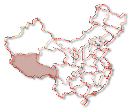 Political map of China with the several provinces where Tibet is highlighted. Stock Photo