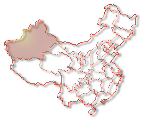 Political map of China with the several provinces where Xinjiang is highlighted. photo