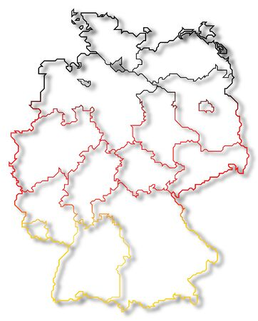 Political map of Germany with the several states where Hamburg is highlighted. Stock Photo