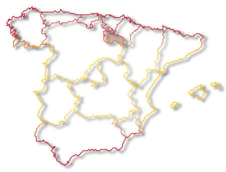Political map of Spain with the several regions where La Rioja is highlighted. photo