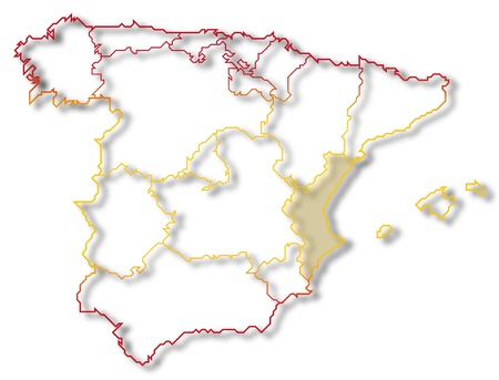 Political map of Spain with the several regions where the Valencian Community is highlighted. photo