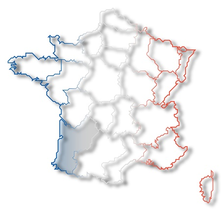 Political map of France with the several regions where Aquitaine is highlighted. photo