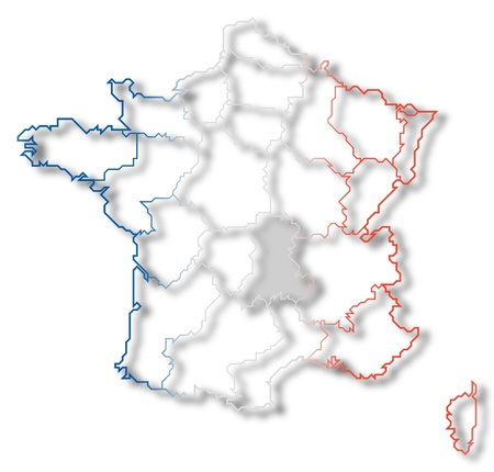 belgie: Political map of France with the several regions where Auvergne is highlighted.