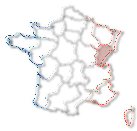 Political map of France with the several regions where Franche-Comte is highlighted. Stock Photo