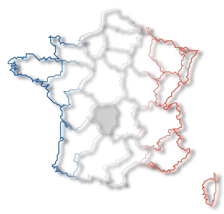 limousin: Political map of France with the several regions where Limousin is highlighted.