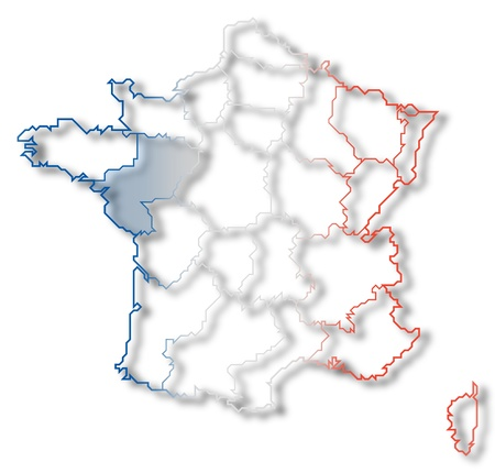 Political map of France with the several regions where Pays de la Loire is highlighted. photo