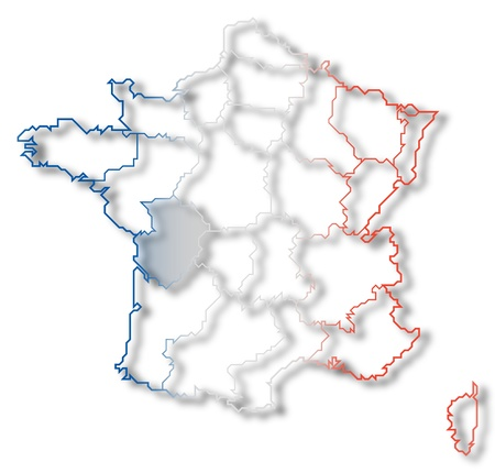 Political map of France with the several regions where Poitou-Charentes is highlighted. photo