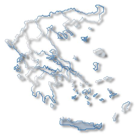 Political map of Greece with the several states where Crete is highlighted. photo