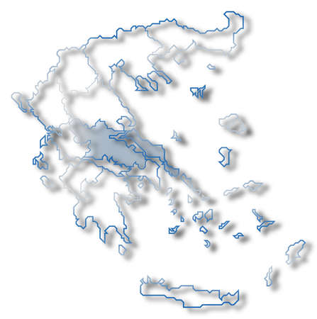Political map of Greece with the several states where Central Greece is highlighted.