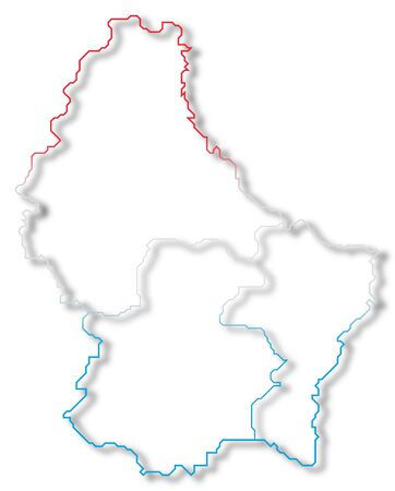 Political map of Luxembourg with the several Districts. Stock Photo