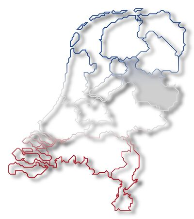 Political map of Netherlands with the several states where Overijssel is highlighted.