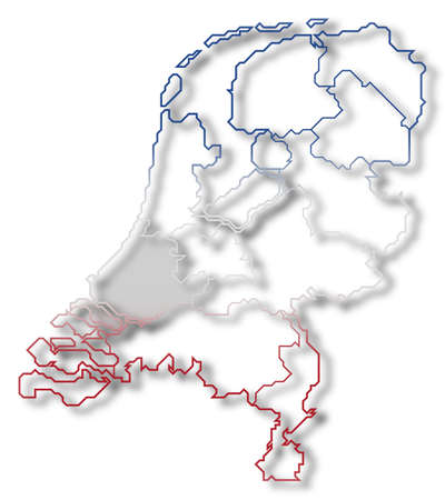 nederland: Political map of Netherlands with the several states where South Holland is highlighted. Stock Photo