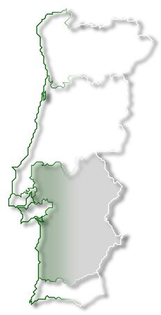 Political map of Portugal with the several regions where Alentejo is highlighted. Stock Photo