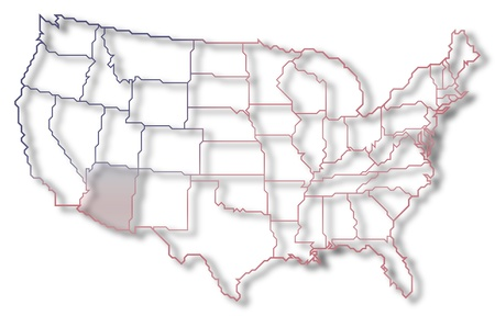 Political map of United States with the several states where Arizona is highlighted. photo