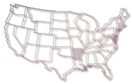 Political map of United States with the several states where Arkansas is highlighted. photo