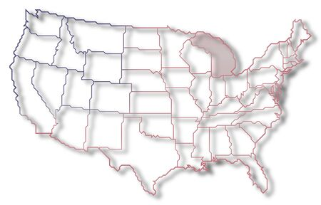 Political map of United States with the several states where Michigan is highlighted.