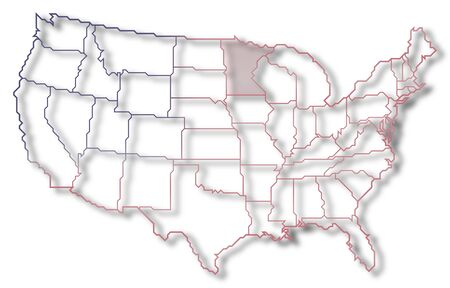 Political map of United States with the several states where Minnesota is highlighted.