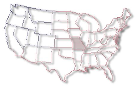 Political map of United States with the several states where Missouri is highlighted.