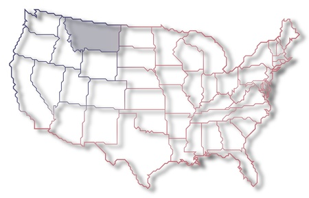 Political Map Of United States With The Several States Where - United states map montana