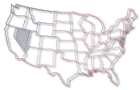 Political map of United States with the several states where Nevada is highlighted.