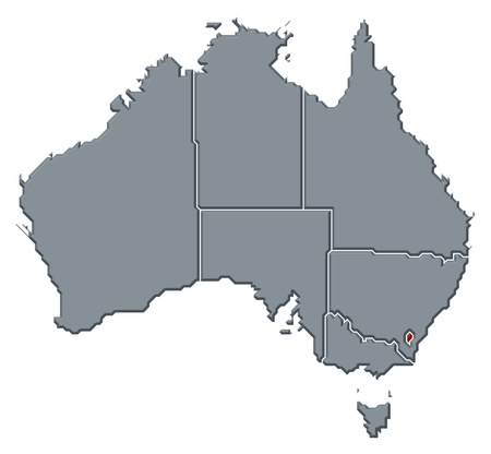 emphasize: Political map of Australia with the several states where Capital Territory is highlighted.
