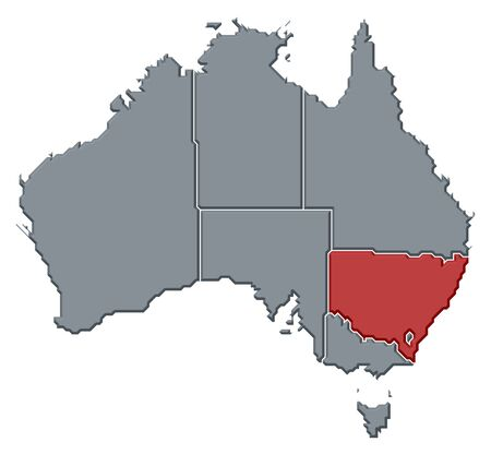 frontiers: Political map of Australia with the several states where New South Wales is highlighted.