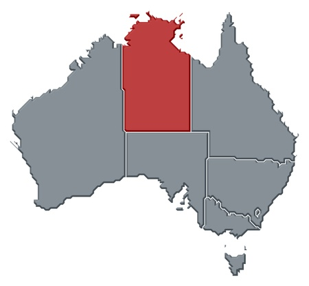 nt: Political map of Australia with the several states where Northern Territory is highlighted. Stock Photo