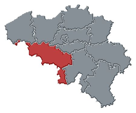 wallonie: Political map of Belgium with the several states where Hainaut is highlighted. Stock Photo