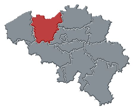 Political map of Belgium with the several states where East Flanders is highlighted. photo