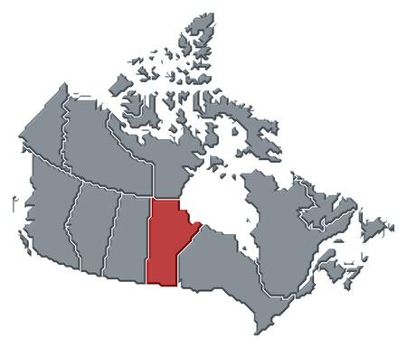 mapa politico: Mapa pol�tico de Canad� con las diversas provincias de Manitoba, donde se destaca.