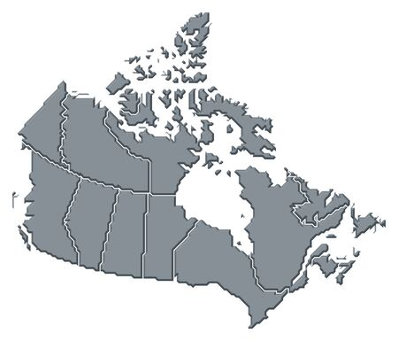Political map of Canada with the several provinces.