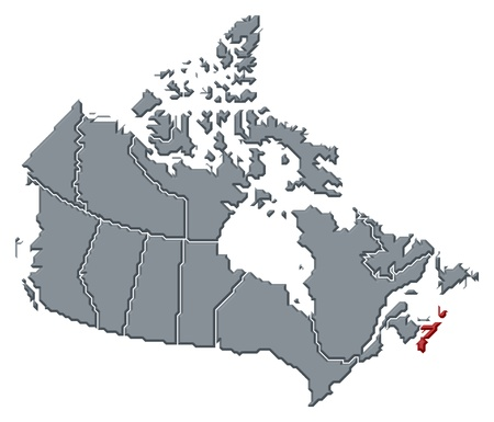 canada map: Political map of Canada with the several provinces where Nova Scotia is highlighted. Stock Photo