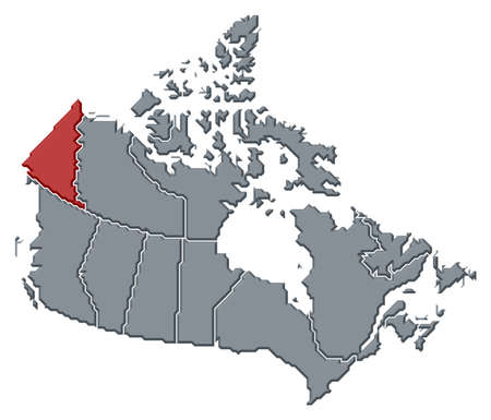 Political map of Canada with the several provinces where Yukon is highlighted. photo