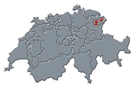 cantons: Political map of Switzerland with the several cantons where Appenzell Ausserrhoden is highlighted. Stock Photo