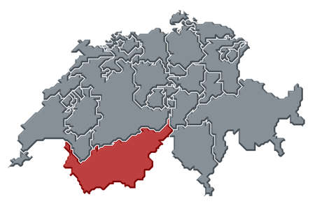 wallis: Political map of Swizerland with the several cantons where Valais is highlighted.