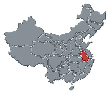 Political map of China with the several provinces where Anhui is highlighted.