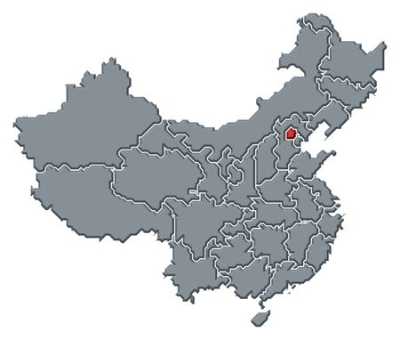 Political map of China with the several provinces where Beijing is highlighted. photo