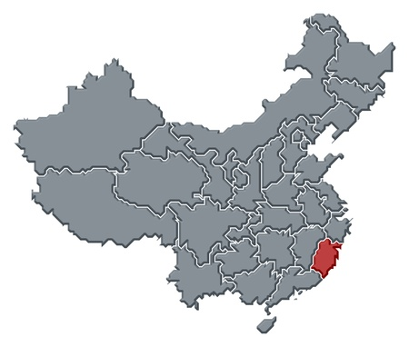 Political map of China with the several provinces where Fujian is highlighted. photo