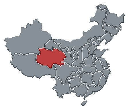 Political map of China with the several provinces where Qinghai is highlighted.