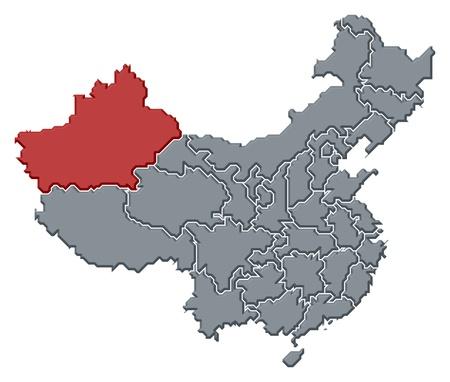 xinjiang: Carte politique de la Chine avec les provinces du Xinjiang, où plusieurs sont en surbrillance.