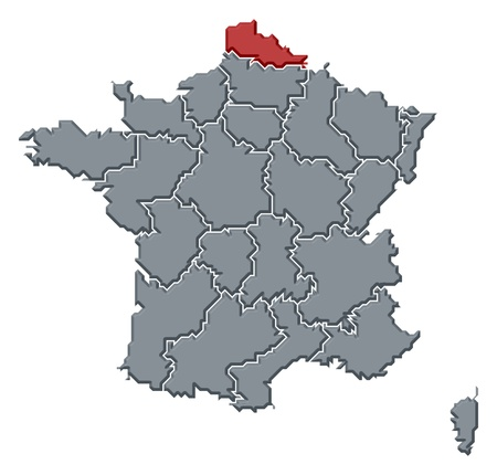 belgie: Political map of France with the several regions where Nord-Pas-de-Calais is highlighted.